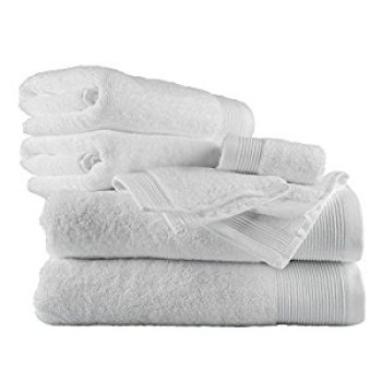 White Supreme Luxury  Bath Towel 700 GSM Combed 100%  Cotton Towel Set with 2 Face Cloths, 2 Hand Towels and 2 Bath Towels
