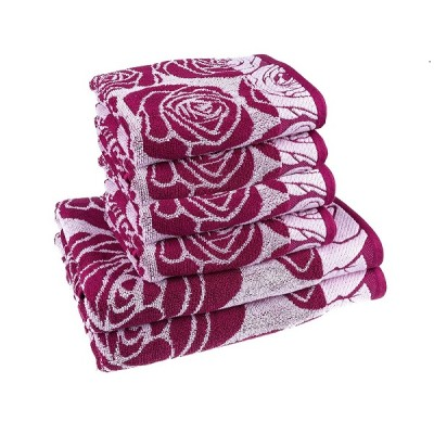 100 % cotton, Jacquard Yarn Dyed Colorful Pink Floral Light Weight Lint free, 6-Piece Towel Set (2 Bath Towels, 4 Large Hand Towels)