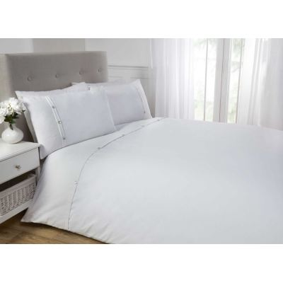 White Duvet Cover Bedding Bed Set - 100% Cotton Waffle Cuff