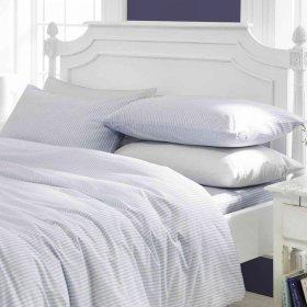 CONGO LINEN 810 Italian Finish Egyptian Cotton Luxurious Duvet Set 810 TC Stripe ( King , White )