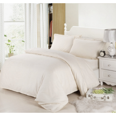 Durable 100% Cotton Hotel White Checked Comforter Set/ Satin Check Bedding Set