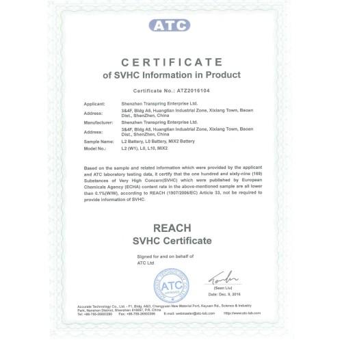 REACH Certificate