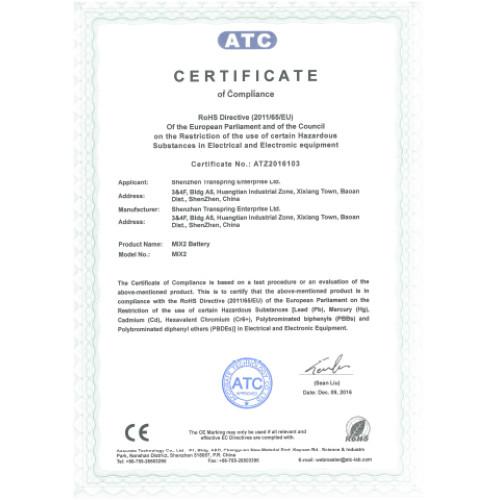 ROHS certificate of vape battery MIX2