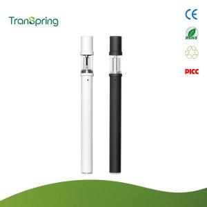 Transpring patentado DP3 Vape pluma desechable con tubo de vidrio y doble bobina