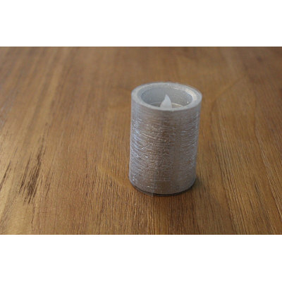 SILVER PAINTED LED WAX CANDLE YM12