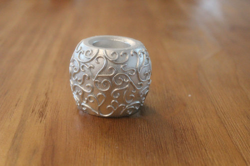 SILVER PAINTED LED WAX CANDLE YM15