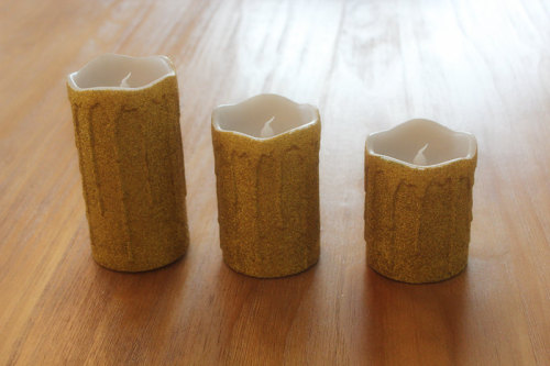 GOLD SURFACE PAINTED LED WAX CANDLE YT5