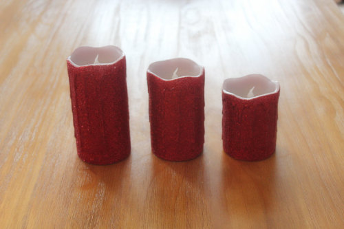 RED SURFACE PAINTED DRIPPING LED WAX CANDLE YT6
