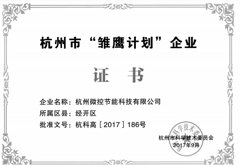 雏鹰企业证书