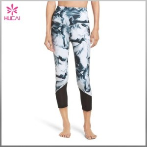 Customized Sublimation Mesh Panel Breathable Yoga Leggings For Women