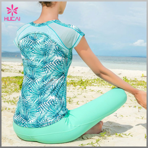 Wholesale Polyester Spandex Dry Fit Fitness Clothing Mesh Panel Women Gym T shirts