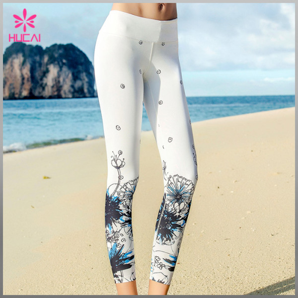 Wholesale Polyester Spandex Sexy Leggings Women Capri Sublimation Yoga Tights