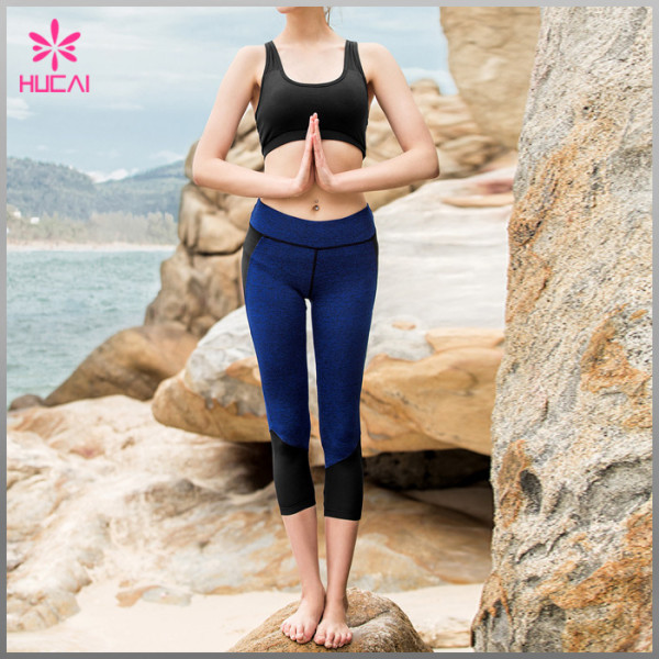 Wholesale Custom Nylon Spandex Capri Women Mesh Gym Leggings With Back Zipper Pocket