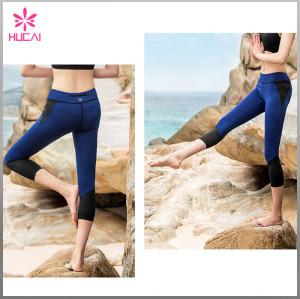 Wholesale Custom Nylon Spandex Capri Women Mesh Gym Leggings With Back Zipper Pocket