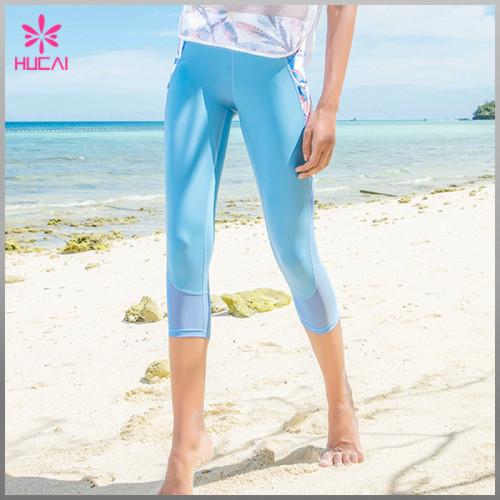 Wholesale Polyester Spandex Women Capri Mesh Sublimation Fitness Leggings