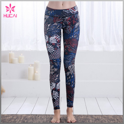 Wholesale Four Needles Six Lines Yoga Pants Full Length Digital Printed Gym Tights Women
