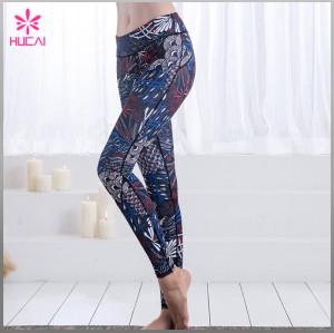 Wholesale Four Needles Six Lines Yoga Pants Full Length Digital Printed Gym Tights Women