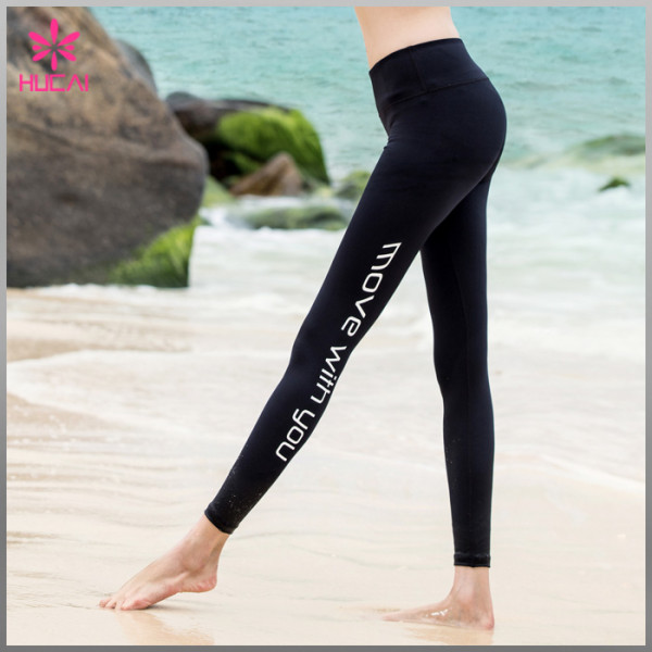 Hot Wholesale Nylon Spandex Yoga Leggings Moisture Wicking Women Workout Tights