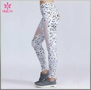 Wholesale Custom Polyester Spandex Women Mesh Sublimation Printed Running Leggings