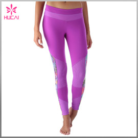 Wholesale Polyester Spandex Yoga Pants Dry Fit Women Mesh Compression Leggings