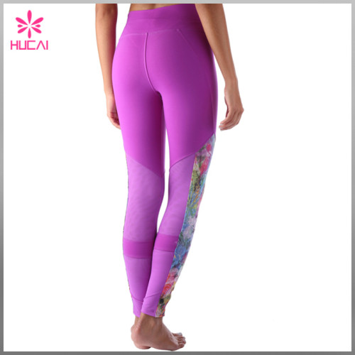 Wholesale Polyester Spandex Yoga Pants Dry Fit Women Mesh Compression Leggings
