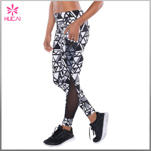 Wholesale Polyester Spandex Women Full Length Mesh Sublimation Workout Leggings