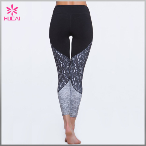 Wholesale Polyester Spandex Yoga Wear Leggings Custom Printed Gym Pants Woman