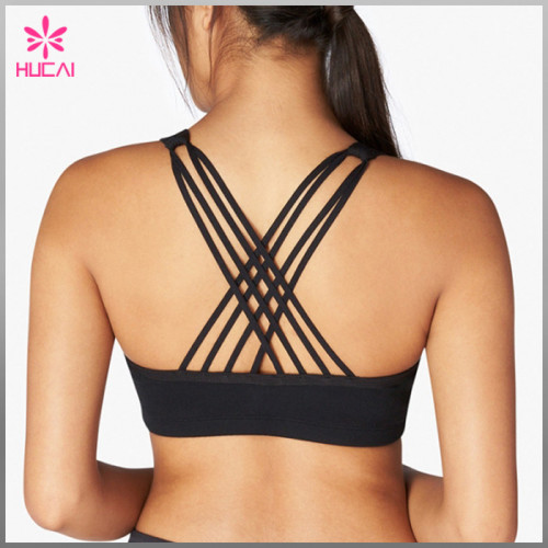 Wholesale 86%Nylon 14%Spandex Criss Cross Women Mesh Yoga Bra Strappy