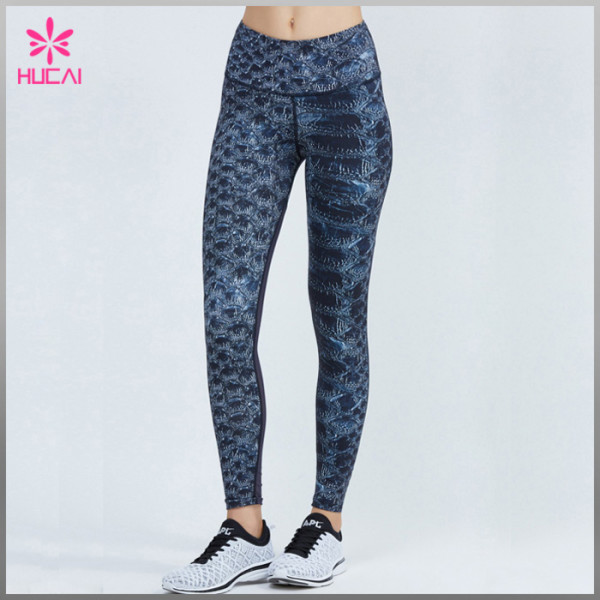 Wholesale Polyester Spandex Yoga Wear Mesh Sublimation Fitness Pants Woman