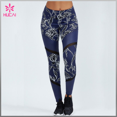 High Quality Full Length Compression Tights Digital Printed Mesh Workout Pants Women