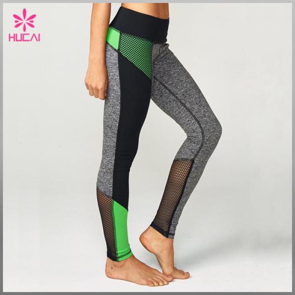 Wholesale Nylon Spandex Gym Tights Leggings Slim Fit Custom Mesh Yoga Clothes Women