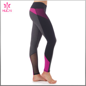 Wholesale Nylon Spandex Gym Tights Leggings Slim Fit Custom Mesh Yoga Clothes Women