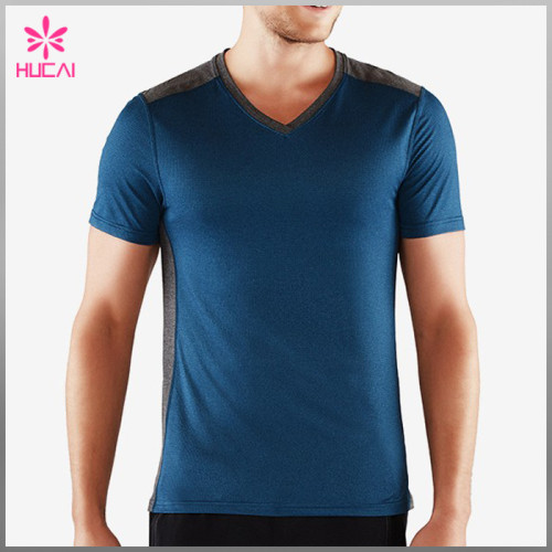 OEM Polyester Spandex Slim Fit T Shirts Custom Gym Clothes Men Bodybuilding