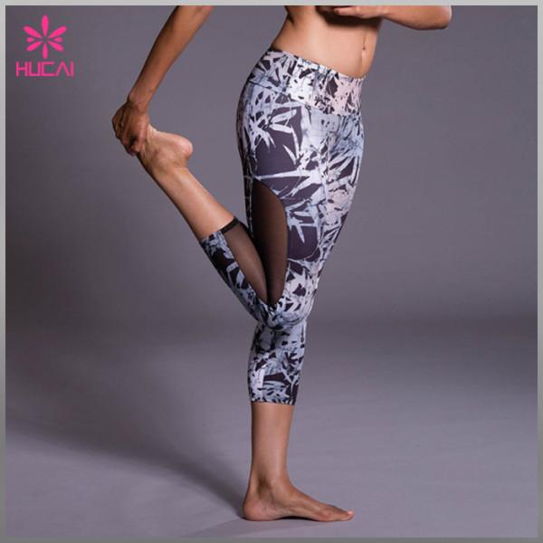 OME Factory Polyester Spandex Capri Leggings Women Yoga Apparel Wholesale