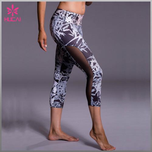 OEM Factory Polyester Spandex Capri Leggings Women Yoga Apparel Wholesale