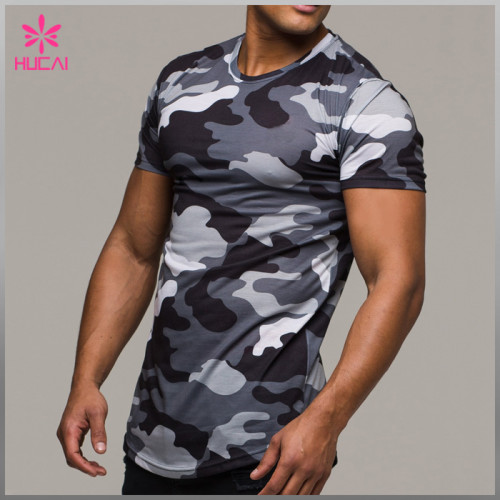 High Quality Bodybuilding Camo T Shirts Wholesale Fitness Apparel Custom Men