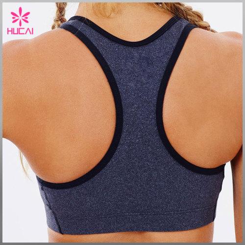 Wholesale Nylon Spandex Yoga Wear Women Front Zip Racerback Sexy Sports Bra
