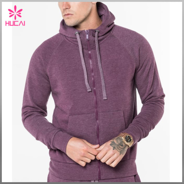 Custom Raglan Sleeve Mens Zip Gym Hoodie With Kangaroo Pocket