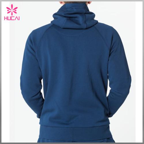 Custom Raglan Sleeve Mens Zip Gym Hoodie With Kangaroo Pocket