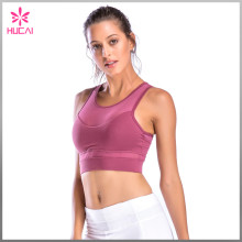 Wholesale Rose Red Yoga Wear Girls Removable Padded Mesh Sports Bra