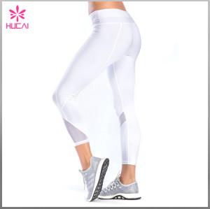 High Quality Flatlock Gym Clothing Seam Women Capri Mesh Yoga Leggings