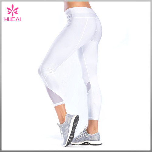 High Quality Flatlock Gym Clothing Seam Women Capri Mesh Yoga Leggings