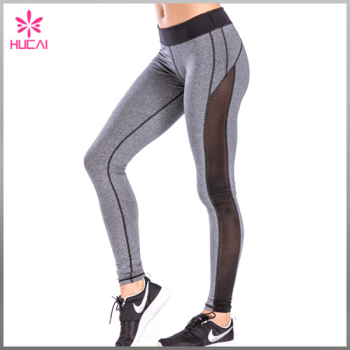 High Quality Middle Rise 4 Needles 6 lines Stitching Women Mesh Sports Leggings