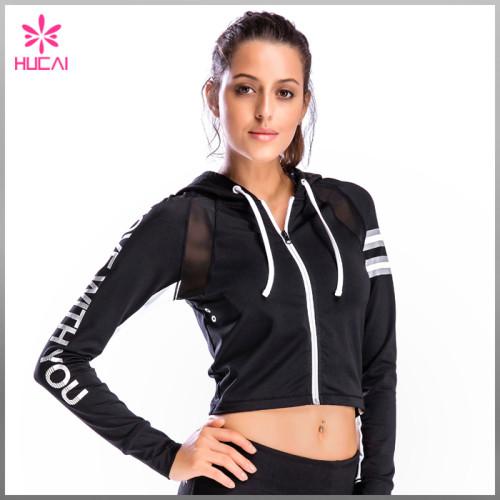 Wholesale Nylon Spandex Zip Up Women Mesh Crop Sports Jacket With Reflective Stripes
