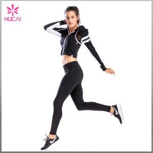 Wholesale Nylon Spandex Zip Up Women Mesh Crop Sports Jacket With Reflective Stripes