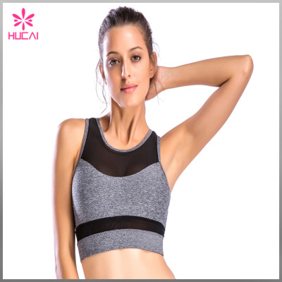 Wholesale Gym Clothing Nylon Spandex Women Round Neck Mesh Fitness Bra