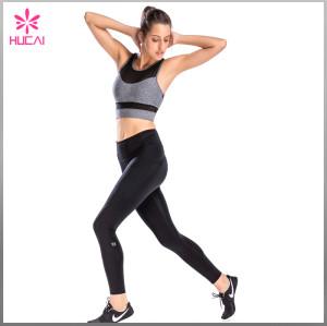 Wholesale Gym Clothing Nylon Spandex Women Round Neck Mesh Fitness Bra