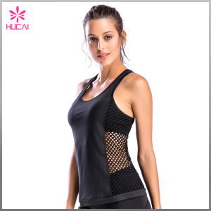 Wholesale Polyester Spandex Gym Wear Dry Fit Mesh Side Women Tank Top