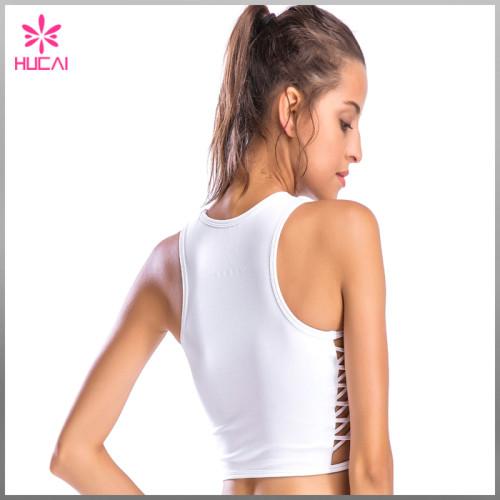 Custom Design Nylon Spandex Stripe Side Ladies Plain Yoga Crop Top