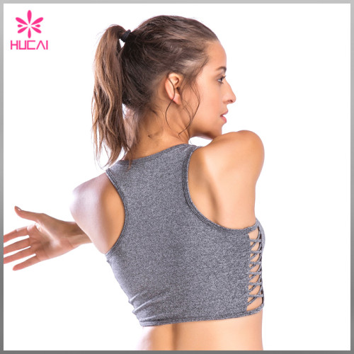 Wholesale Dry Fit Heather Gray Yoga Wear Gym Crop Top For Women